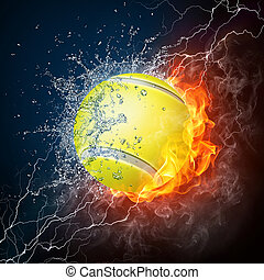 Tennis Ball on Fire and Water 2D Graphics Computer Design