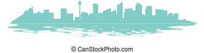 Silhouette blue simple line art city with reflect in water on white background