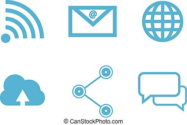 Blue social network connection concept icon isolated with white background