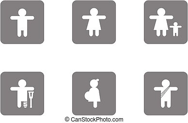 White icon on grey background about man woman child pregnant monk isolated vector