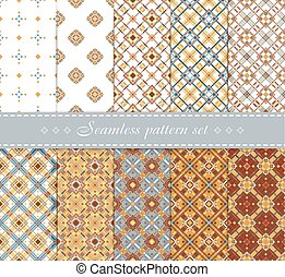 10 Elegant vector seamless patterns. Retro blue, brown, beige and white colors. Endless texture can be used for printing onto fabric and paper, scrap booking. Set of abstract pretty chic background