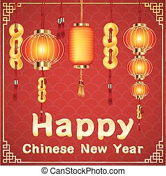 happy chinese new year with a chinese lantern