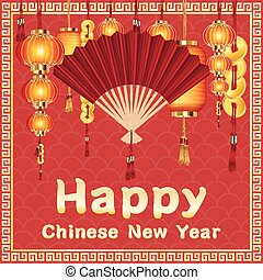 happy chinese new year with hand fan and chinese lantern