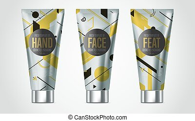 Realistic face or body care cosmetic product set - Realistic...