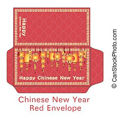 red chinese happy new year envelope vector