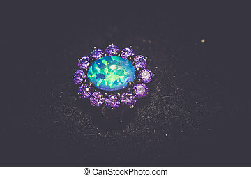 Blue Opal Ring Filtered - Fashion ring decorated with blue...