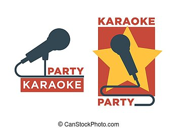 Karaoke club and bar vector labels or logotype design...