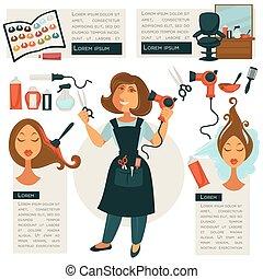 Hairdresser symbols and barber tools - Set of hairdressing...