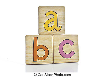 wooden tiles - spelling A B C