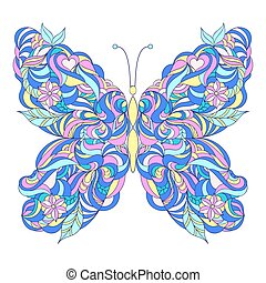 Motley abstract butterfly on white background.Vector...