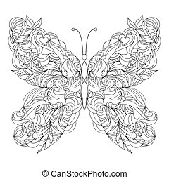 Abstract butterfly on white background.Coloring page for...