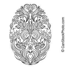 easter egg on white background - Floral easter egg on white...