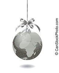 Christmas silver globe with world map Vector illustration