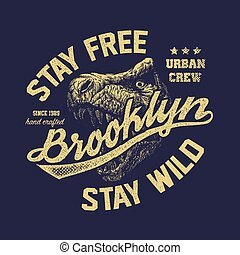 vintage brooklyn typography t-shirt graphics - vintage...