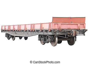Open freight car under the white background