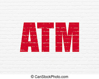 Money concept: ATM on wall background