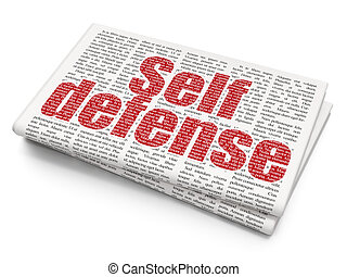 Security concept: Self Defense on Newspaper background -...