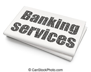Money concept: Banking Services on Blank Newspaper...