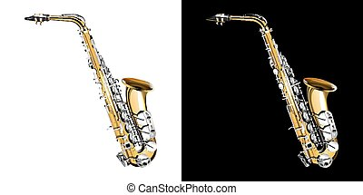 gold saxophone with silver keys