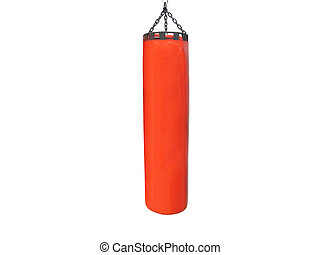 Big red punching bag under the light background