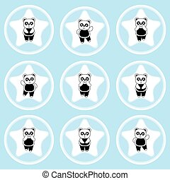 Birthday cupcake topper with cute panda on star frames...