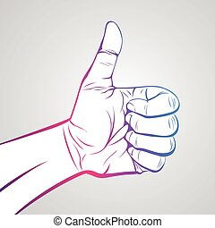 Thumbs up - Hand in thumb up gesture, communication