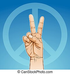 Peace sign - color illustration of a hand in peace sign