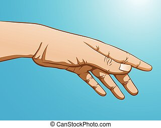 Hand reaching - Full color illustration of a hand reaching