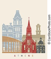 Athens OH skyline poster - Athens skyline poster in editable...