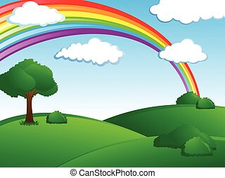 Rainbow Landscape - fresh green landscape with rainbow