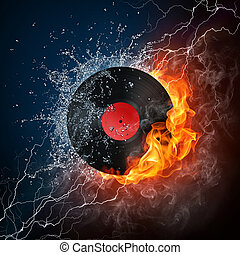 Record in Fire Computer Graphics Design Element