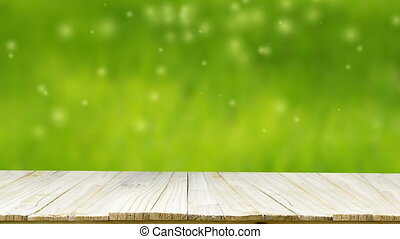 Nature wood floor over bokeh and falling particle and light...