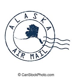 Alaska post office sign or stamp - Alaska post office, air...