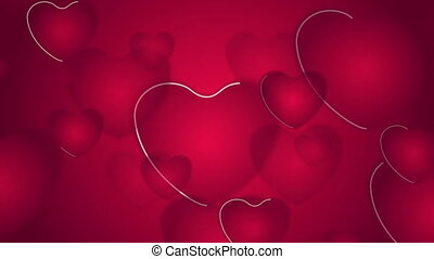 Abstract bright red pink hearts video animation - Abstract...