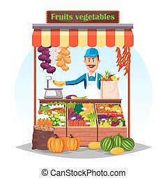 Market counter or stand with fruits and vegetables - Market...