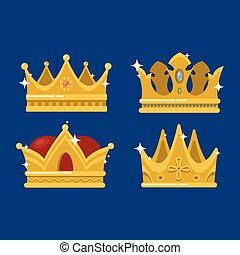 Pope tiara and king or prince shining crown - Isolated royal...