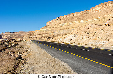 Desert road leading up the Ramon Crater (Makhtesh) to Mizpe...