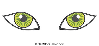 Vector green eyes isolated over white. Animal eyes looking...