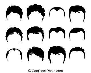 Men vector silhouette shapes of haircuts. Illustration of...