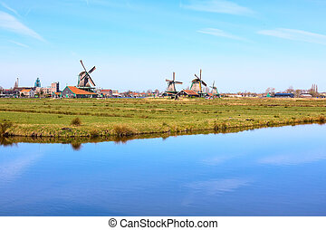 Panorama with windmills in Zaanse Schans, traditional...