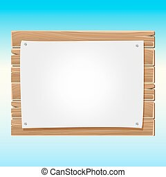 Wooden blank sign board with paper blue sky