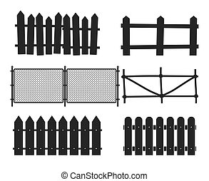 Rural wooden fences, pickets vector silhouettes