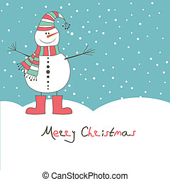 New year\'s card with  snow man. Vector illustration
