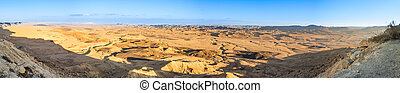 Wide sunset panorama of Ramon Crater (Makhtesh) in Israel's...