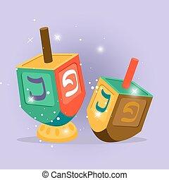 Hebrew vector cartoon illustration with shining elements on...