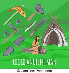Ancient prehistoric concept with primitive tools - Ancient...