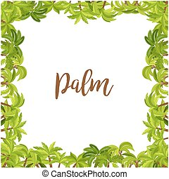 Beautiful palm tree green square frame