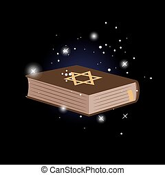 Shield of David on the book. Vector illustration, dark...