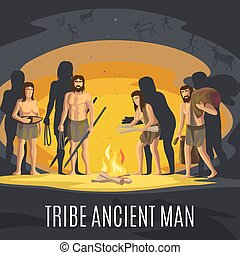 Ancient men making fire in cave - Ancient prehistoric stone...