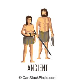 Ancient prehistoric woman and man